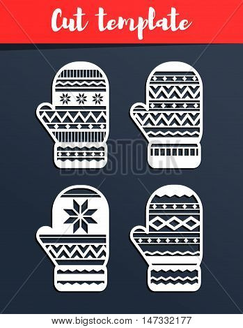 Laser Cut Template. Mittens Silhouette For Cutting. Christmas Paper Craft. Geometric Pattern