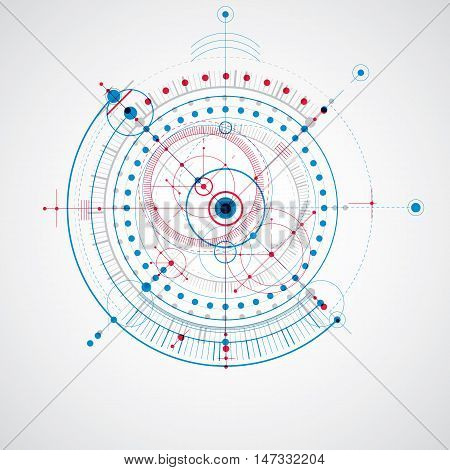 Mechanical scheme blue vector engineering drawing with circles and geometric parts of mechanism.
