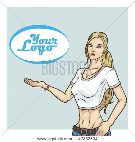 vector illustration of a blonde girl on the advertising poster