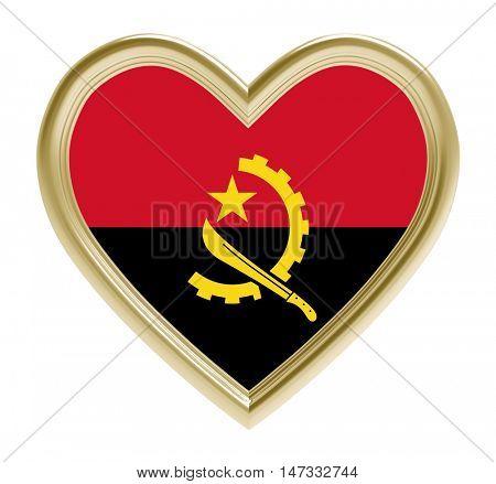 Angola flag in golden heart isolated on white background. 3D illustration.