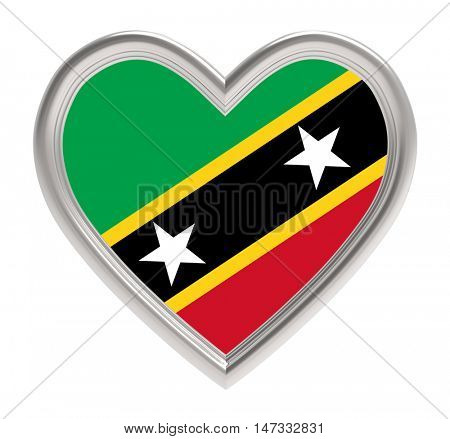 Saint Kitts and Nevis flag in silver heart isolated on white background. 3D illustration.