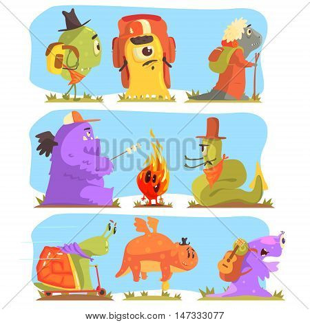 Monsters Hiking And Camping. Funky Creatures Colorful Characters With Walking Outdoors On Blue Background.