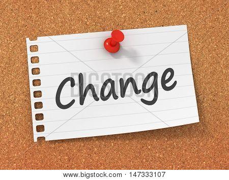 change 3d illustration isolated on white background