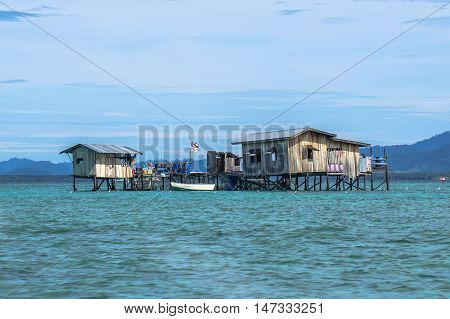Semporna,Sabah-Sep 10,2016:Semporna bajau traditional water village at Semporna,Sabah on 10th Sept 2016.The water village is a popular tourist attraction area in Semporna,Sabah,Borneo.