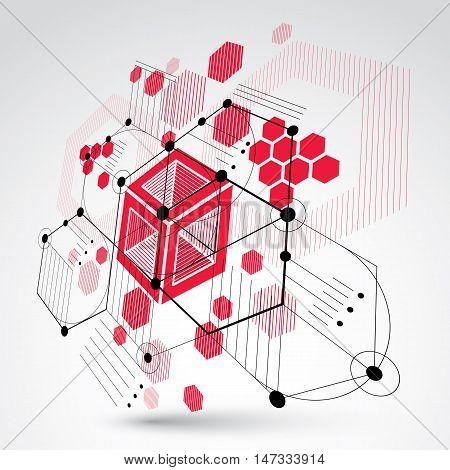 Bauhaus art 3d modular red vector backdrop made using hexagons and circles.