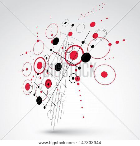 Bauhaus art dimensional composition perspective red modular vector retro style pattern