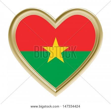 Burkina Faso flag in golden heart isolated on white background. 3D illustration.