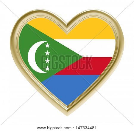 Comoros flag in golden heart isolated on white background. 3D illustration.