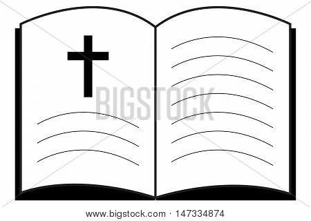 Bible Church logo open book vector icon gospel crucifixion cross