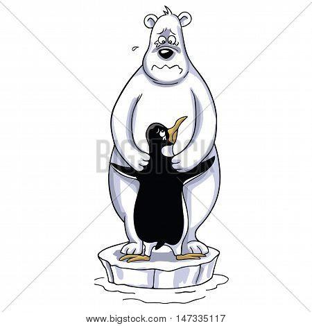 Polar Bear Hugging Penguin Cartoon, Sad Polar Scene