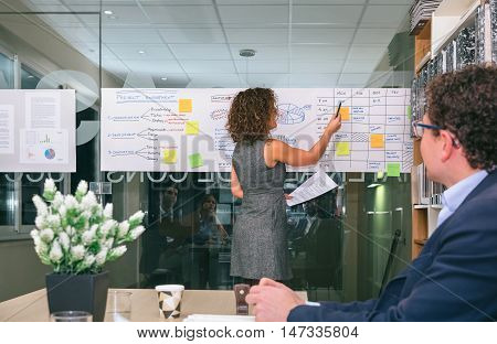 Female coach explaining project management studies on paper over glass wall in headquarters