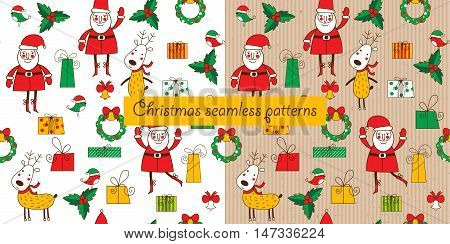 Two christmas seamless pattern on a white background and a cardboard background. Santa deer and gift box. Funny background for Christmas and New Year. Vector illustration.