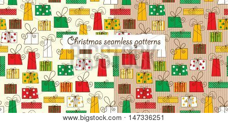 Two christmas seamless pattern on a white background and a cardboard background. Different types of gift boxes. Funny background for Christmas and New Year. Vector illustration.