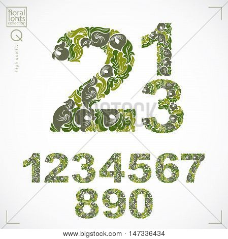 Set of vector ornate numbers flower-patterned numeration. Green characters created using herbal texture.