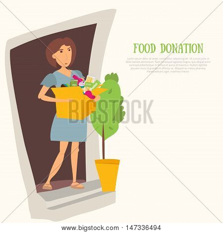 Woman Volunteer with food donation and clothes. Most needed items for food banks vector infographics with caned meat, socks, chockolate, socks