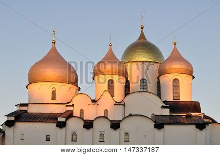 Closeup of Saint Sophia Orthodox Cathedral in Veliky Novgorod Russia. Saint Sophia Orthodox Cathedral is the oldest Orthodox church in Russia.