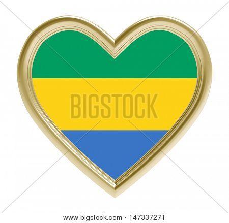 Gabon flag in golden heart isolated on white background. 3D illustration.