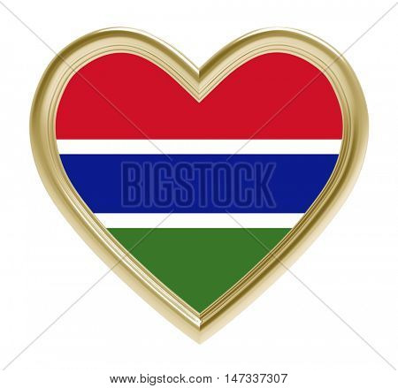 Gambia flag in golden heart isolated on white background. 3D illustration.