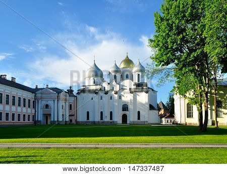 St Sophia Orthodox Cathedral in sunny spring evening in Veliky Novgorod Russia. Architecture landscape in Veliky Novgorod Russia