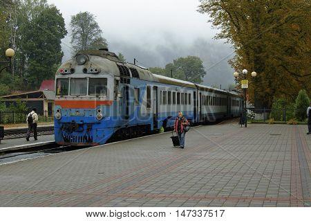 Yremche Ivano-Frankivsk Region Ukraine - 07 October 2015 : Regional diesel train has arrived to the Yaremche railway station
