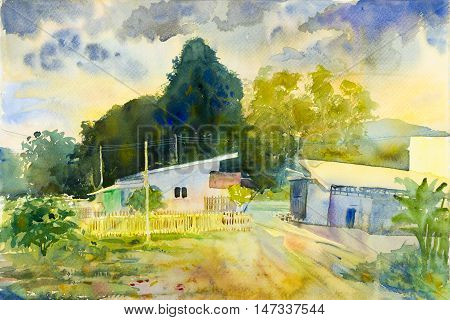 Watercolor landscape original painting colorful of countryside market and emotion in blue background