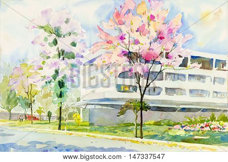 Watercolor landscape original painting colorful of wild himalayan cherry tree and emotion in blue background