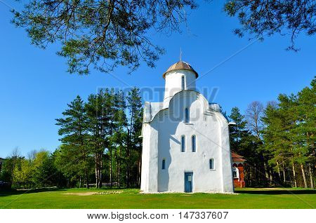 Peryn Chapel also known as Church of the Nativity of the Theotokos on Peryn Skete in Veliky Novgorod Russia. Architecture spring landscape of Orthodox landmark.