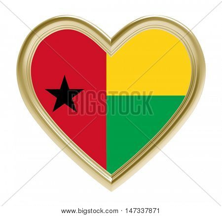 Guinea Bissau flag in golden heart isolated on white background. 3D illustration.