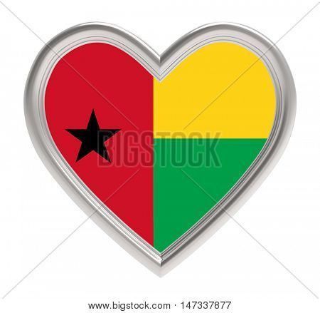 Guinea Bissau flag in silver heart isolated on white background. 3D illustration.