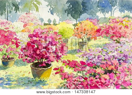 Abstract watercolor landscape original painting pink red color of Paper flower and tree background