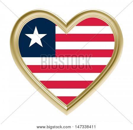 Liberia flag in golden heart isolated on white background. 3D illustration.