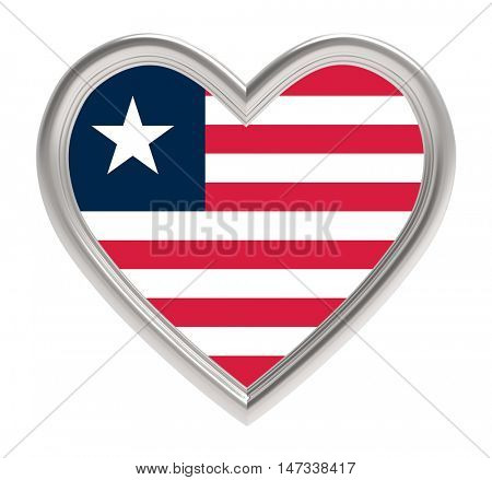 Liberia flag in silver heart isolated on white background. 3D illustration.