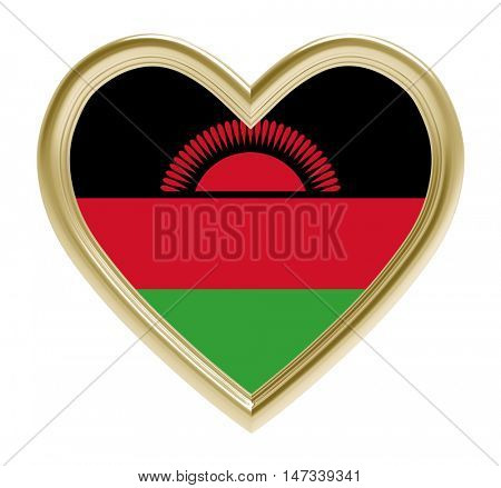 Malawi flag in golden heart isolated on white background. 3D illustration.