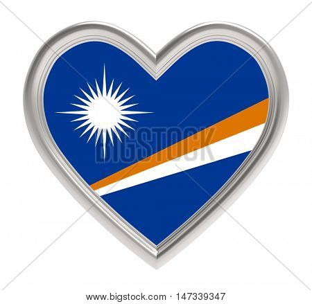 Marshall Islands flag in silver heart isolated on white background. 3D illustration.