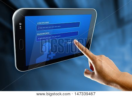 A woman's finger log in on a digital tablet