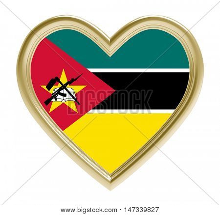 Mozambique flag in golden heart isolated on white background. 3D illustration.