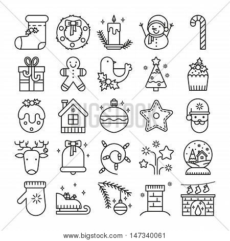 Vector line icons with christmas symbols and objects. Thin line icons set for web design and application user interface. Useful for holidays infographics.
