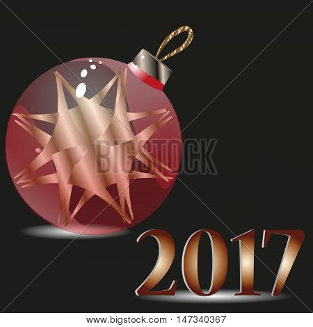 Postcard christmas red ball and 2017 Congratulation of, minimalist design style glass christmas ball transparent, with the decoration inside the text background Stock vector illustration