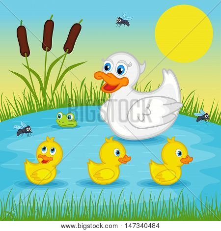 mother duck  with  ducklings on lake - vector illustration, eps