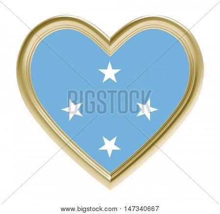 Micronesia flag in golden heart isolated on white background. 3D illustration.