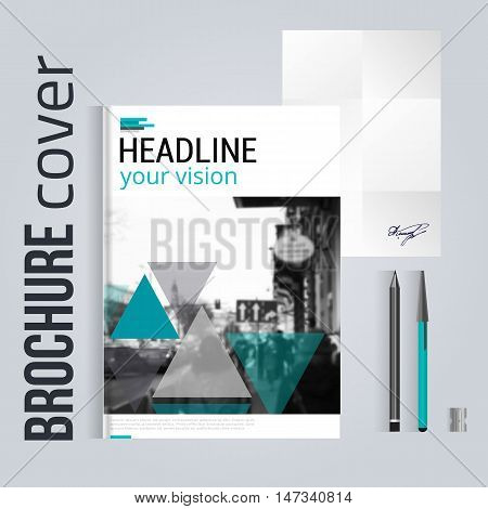 Clean brochure cover template with blured city landscape with letter and pen. Corporate identity. Business design, flyer, professional corporate