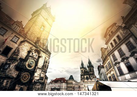 Old Town Hall with Orloj Astronomical Clock in Prague. Monuments of Prague.