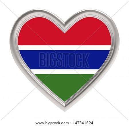 Gambia flag in silver heart isolated on white background. 3D illustration.