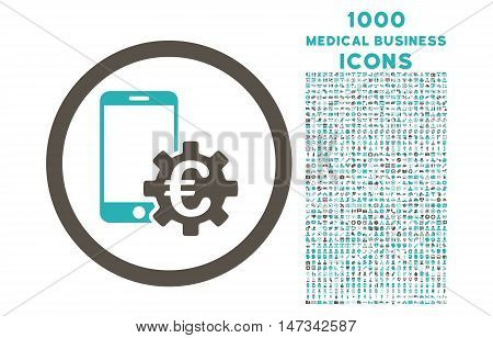 Configure Mobile Euro Bank rounded vector bicolor icon with 1000 medical business icons. Set style is flat pictograms, grey and cyan colors, white background.
