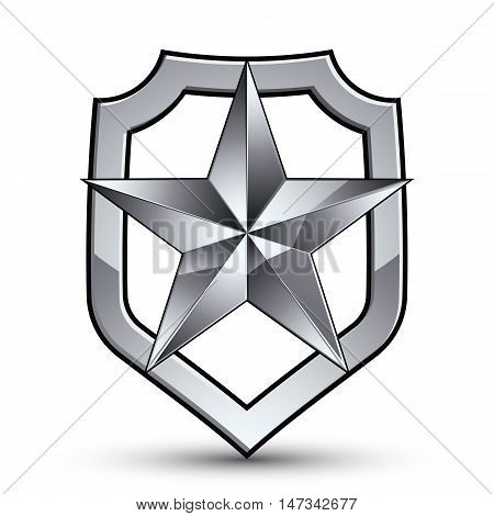 3d heraldic vector template with pentagonal silver star dimensional royal geometric medallion isolated on white background.