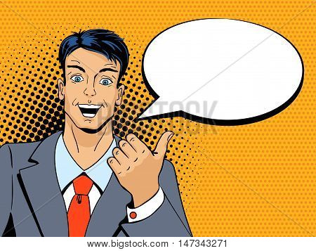 Surprised Man With Pointing Finger In Pop Art Retro Style. Vintage Vector Character. Pop Art Vector