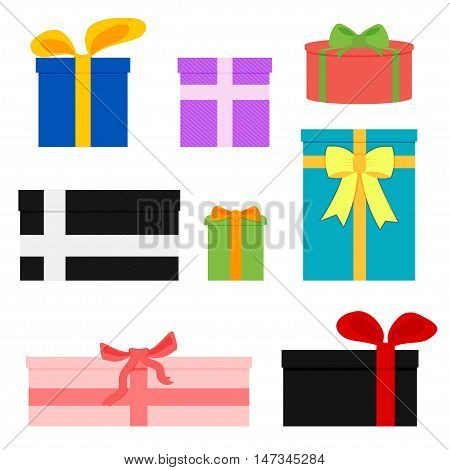 Vector set of different colorful gift boxes. Gift boxes isolated on white.