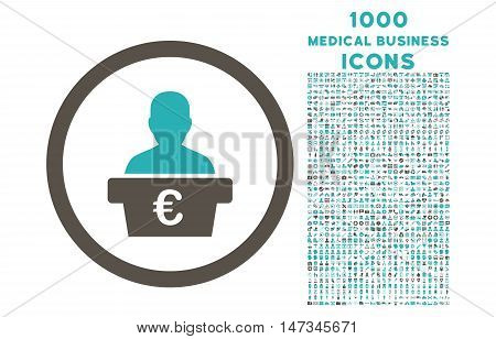 Euro Politician rounded vector bicolor icon with 1000 medical business icons. Set style is flat pictograms, grey and cyan colors, white background.