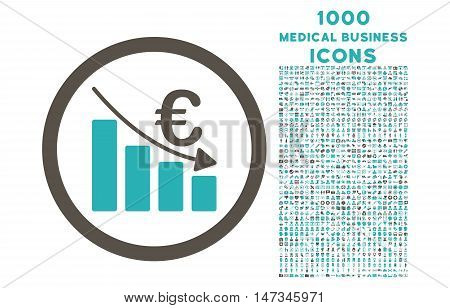 Euro Recession rounded vector bicolor icon with 1000 medical business icons. Set style is flat pictograms, grey and cyan colors, white background.