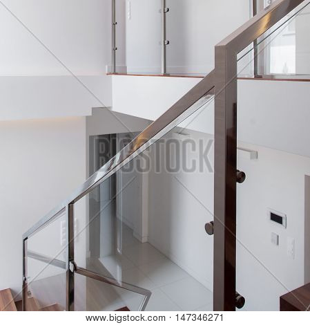Image of chromed railing and glass balustrade